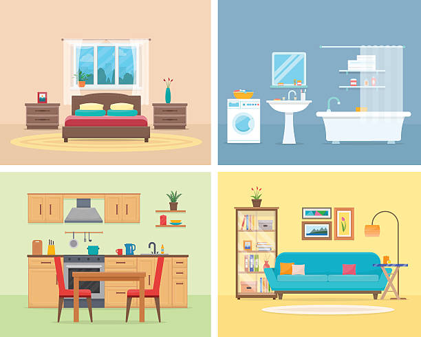 detailed modern house interior. - 실내 stock illustrations