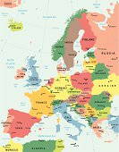 Detailed multicolored map of Europe with surroundings