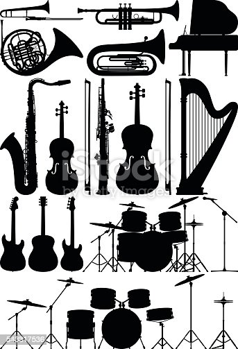 Musical instrument silhouettes.