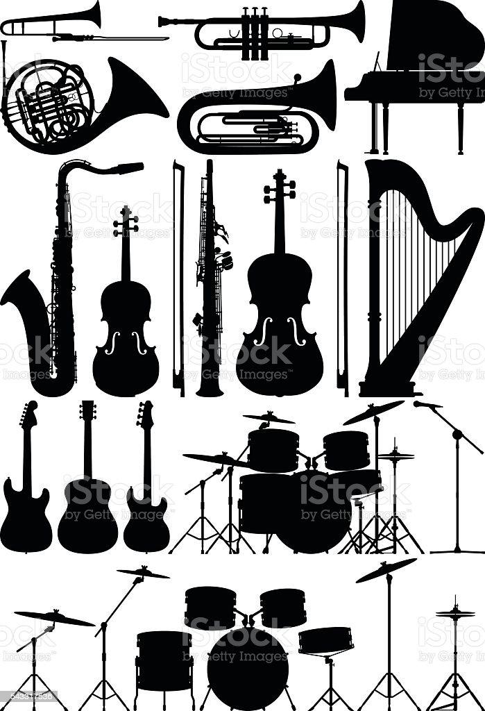 Detailed Musical Instruments vector art illustration