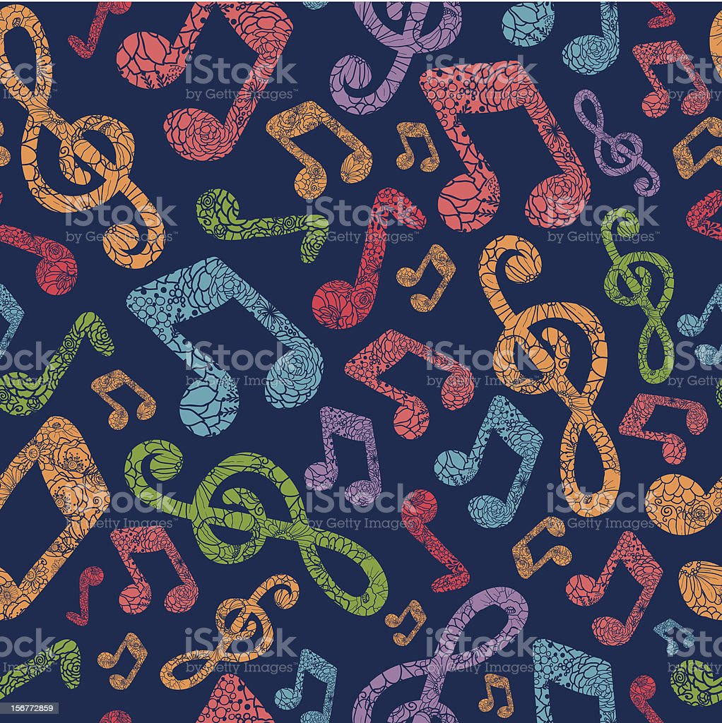 Detailed Musical Notes Silhouettes Seamless Pattern Background royalty-free stock vector art