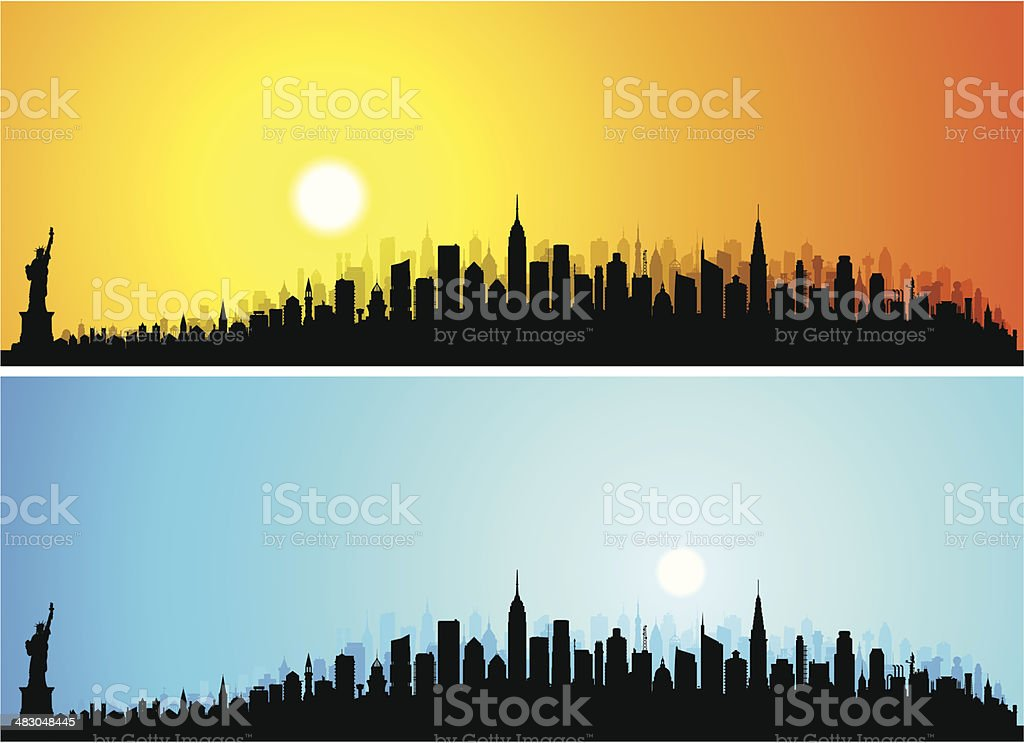 Detailed New York City (132 Complete, Moveable Buildings) royalty-free stock vector art