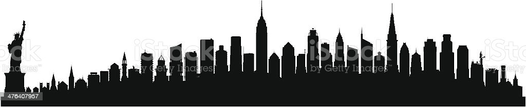 Detailed New York Skyline (Each Building is Moveable and Complete) vector art illustration