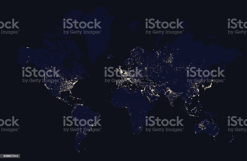 Detailed night map of the world with lights cities vector art illustration