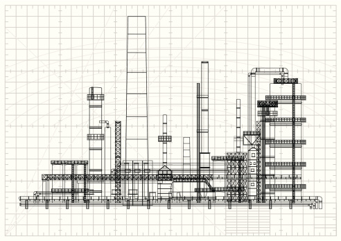 Detailed oil refinery blueprint