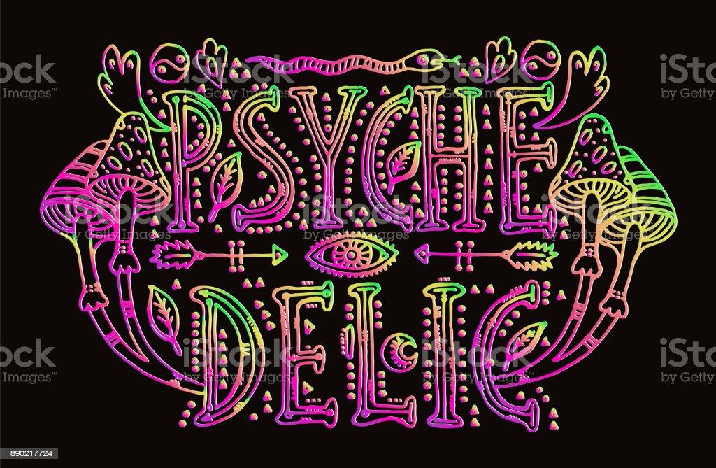Detailed ornamental Psychedelic lettering vector art illustration