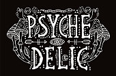 Detailed ornamental white Psychedelic lettering and magic mushrooms in boho chic style. Isolated on black background.Hippy drawing for prints on t-shirts and bags or poster.Vector