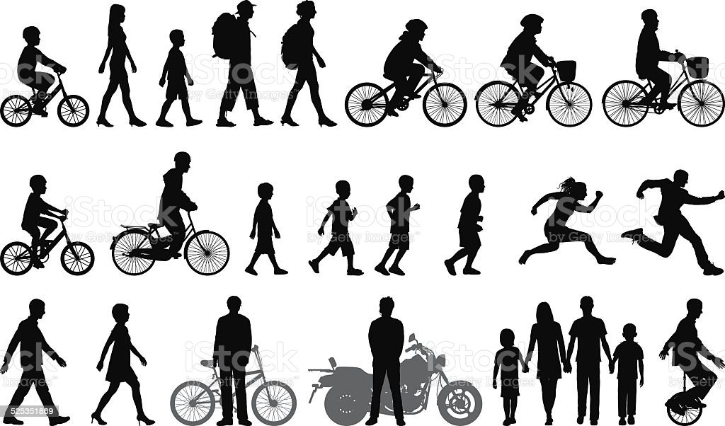 Detailed People Moving vector art illustration