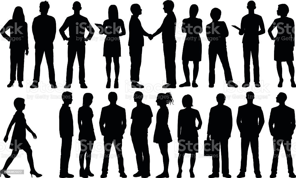 Detailed People Silhouettes vector art illustration