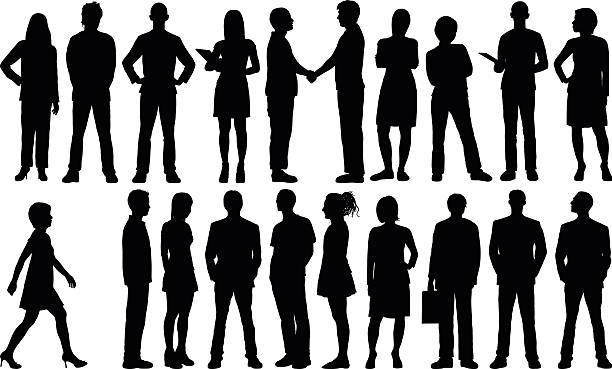 detailed people silhouettes - businessman stock illustrations, clip art, cartoons, & icons