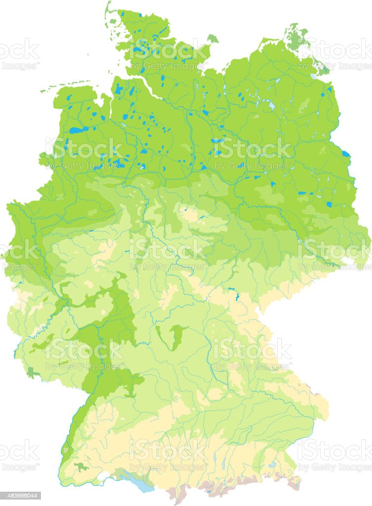 Detailed Physical Map Of Germany Stock Vector Art More Images Of
