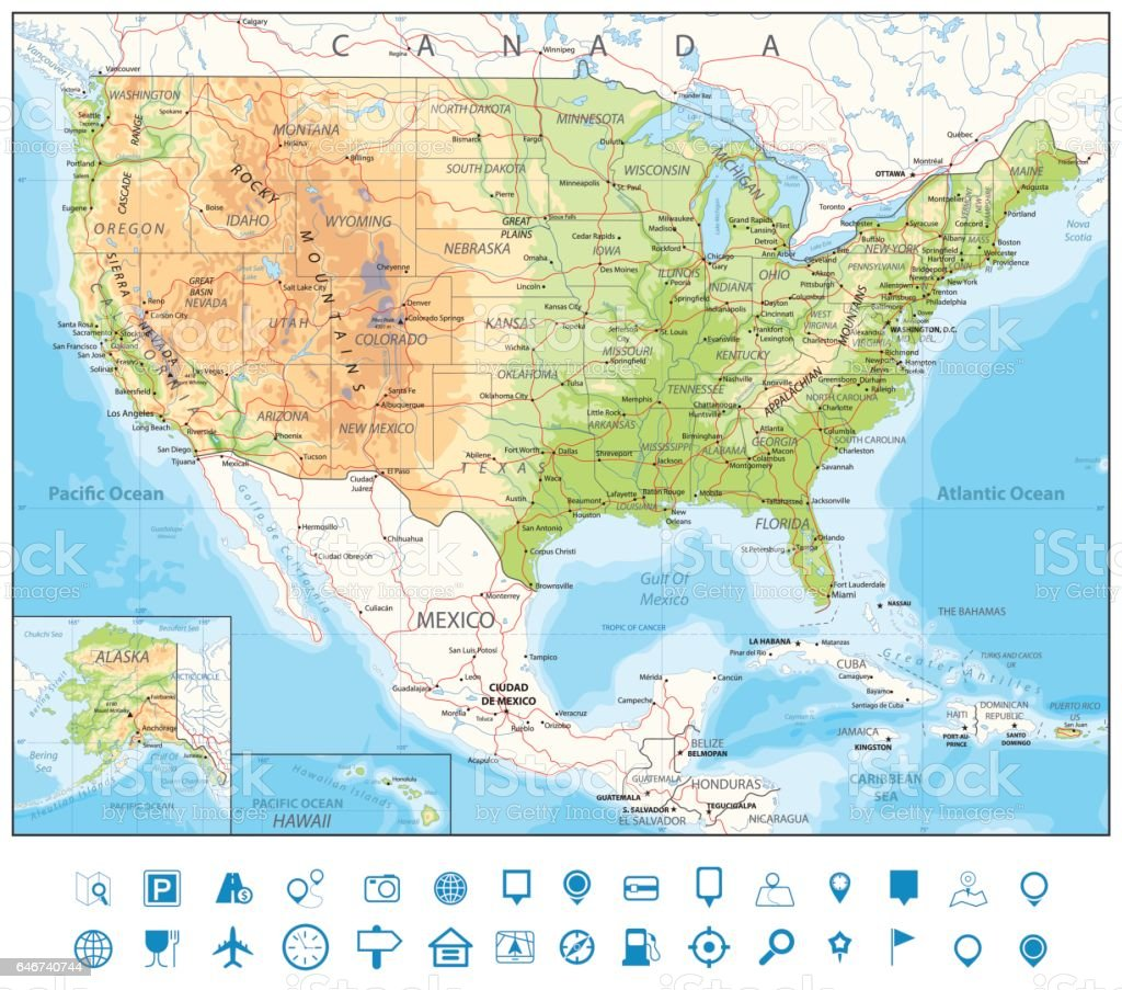 Usa Detailed Physical Map Stock Illustration - Download Image Now on usa government map, usa nuclear weapons map, usa ukraine map, usa france map, usa riviera maya map, usa india map, usa south america map, usa bahamas map, usa world map, usa tanzania map, usa canada map, usa spain map, blank usa map, usa dominican republic map, usa guatemala map, usa iran map, usa space map, usa cyprus map, usa mississippi map, usa coastal map,