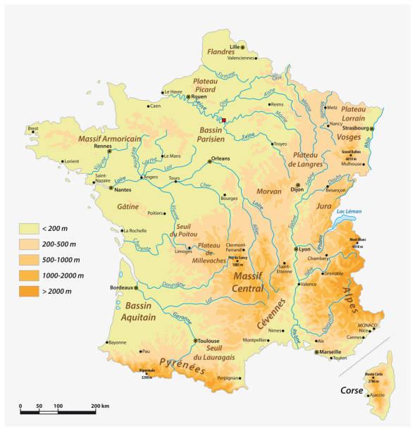 illustrazioni stock, clip art, cartoni animati e icone di tendenza di detailed physical vector map of the french republic - monte bianco