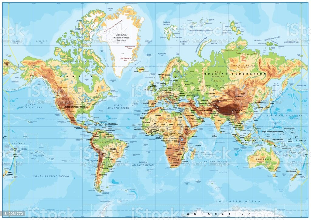 Detailed physical world map mercator projection stock vector art detailed physical world map mercator projection royalty free detailed physical world map mercator projection stock gumiabroncs