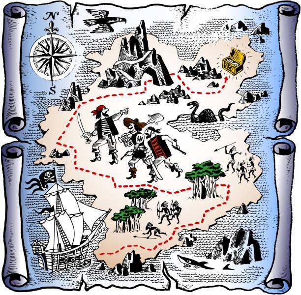 ilustrações, clipart, desenhos animados e ícones de detalhada mapa do tesouro dos piratas - mapas de tesouro
