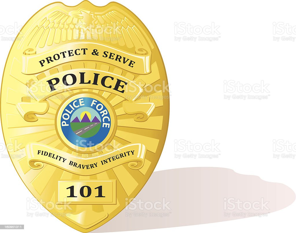 Detailed police badge vector vector art illustration