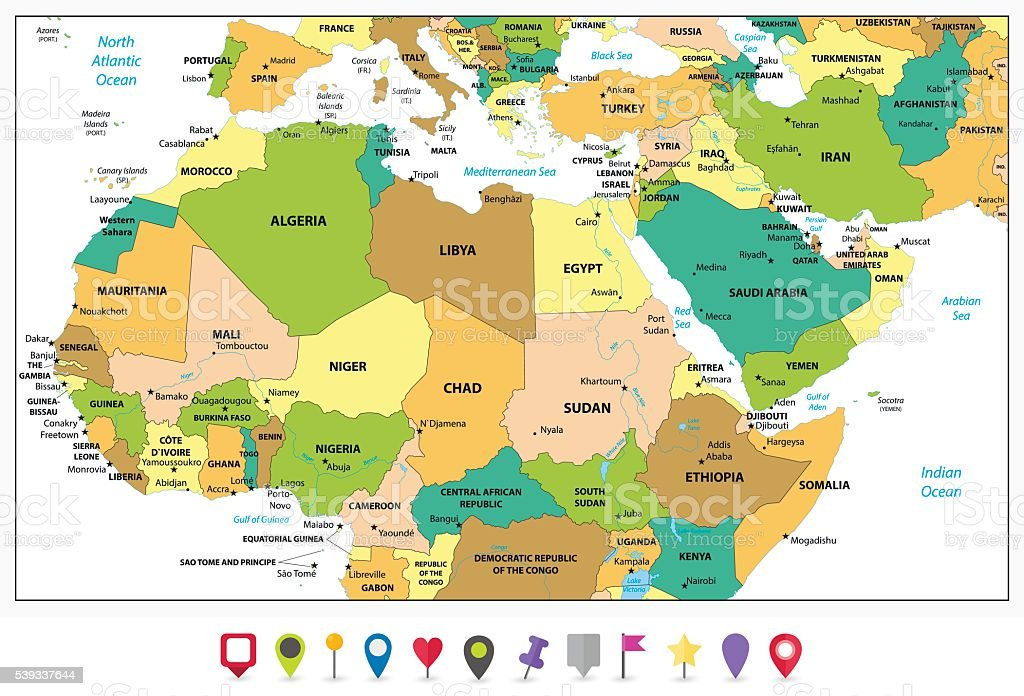 Detailed Political Map Of Northern Africa And The Middle East Stock
