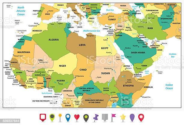 Cartina Nord.Dettagliata Mappa Politica Del Nord Africa E Medio Oriente Immagini Vettoriali Stock E Altre Immagini Di Affari Finanza E Industria Istock