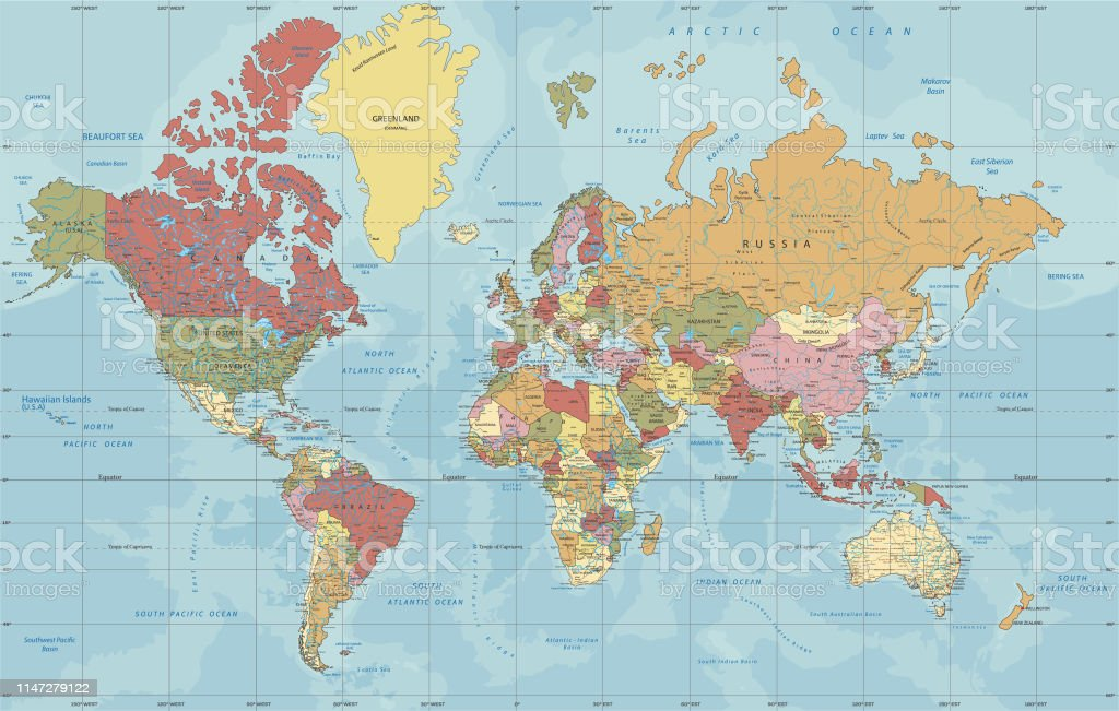 Detailed Political World Map In Mercator Projection Stock ... on model of map, set of map, photography of map, drawing of map, map of map, animation of map, texture of map, element of map, depression of map, shape of map, scale of map, type of map, view of map, orientation of map,
