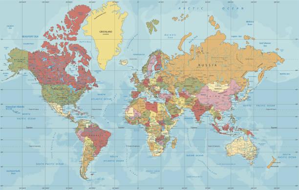 bildbanksillustrationer, clip art samt tecknat material och ikoner med detaljerad politisk världs karta i mercator-projektion - map oceans