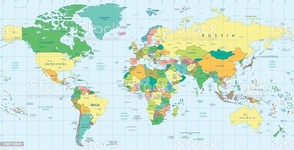 Cartina Russia Politica In Italiano.Dettagliata Mappa Del Mondo Politico Immagini Vettoriali