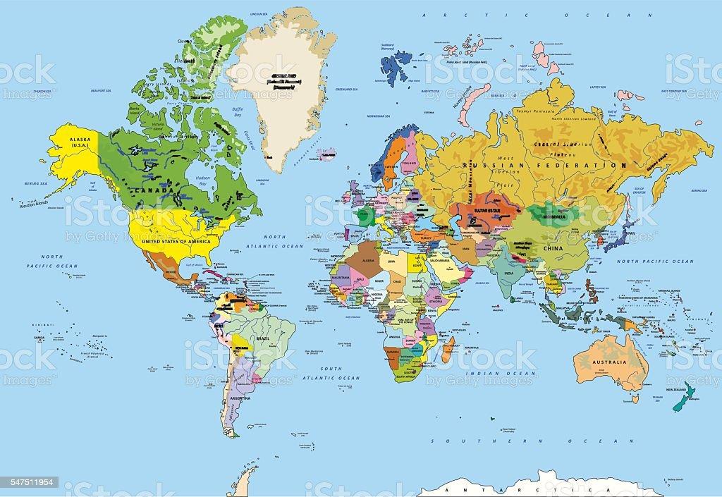 Detailed Political World Map vector art illustration