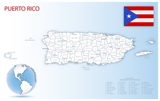 Detailed Puerto Rico administrative map with country flag and location on a blue globe.