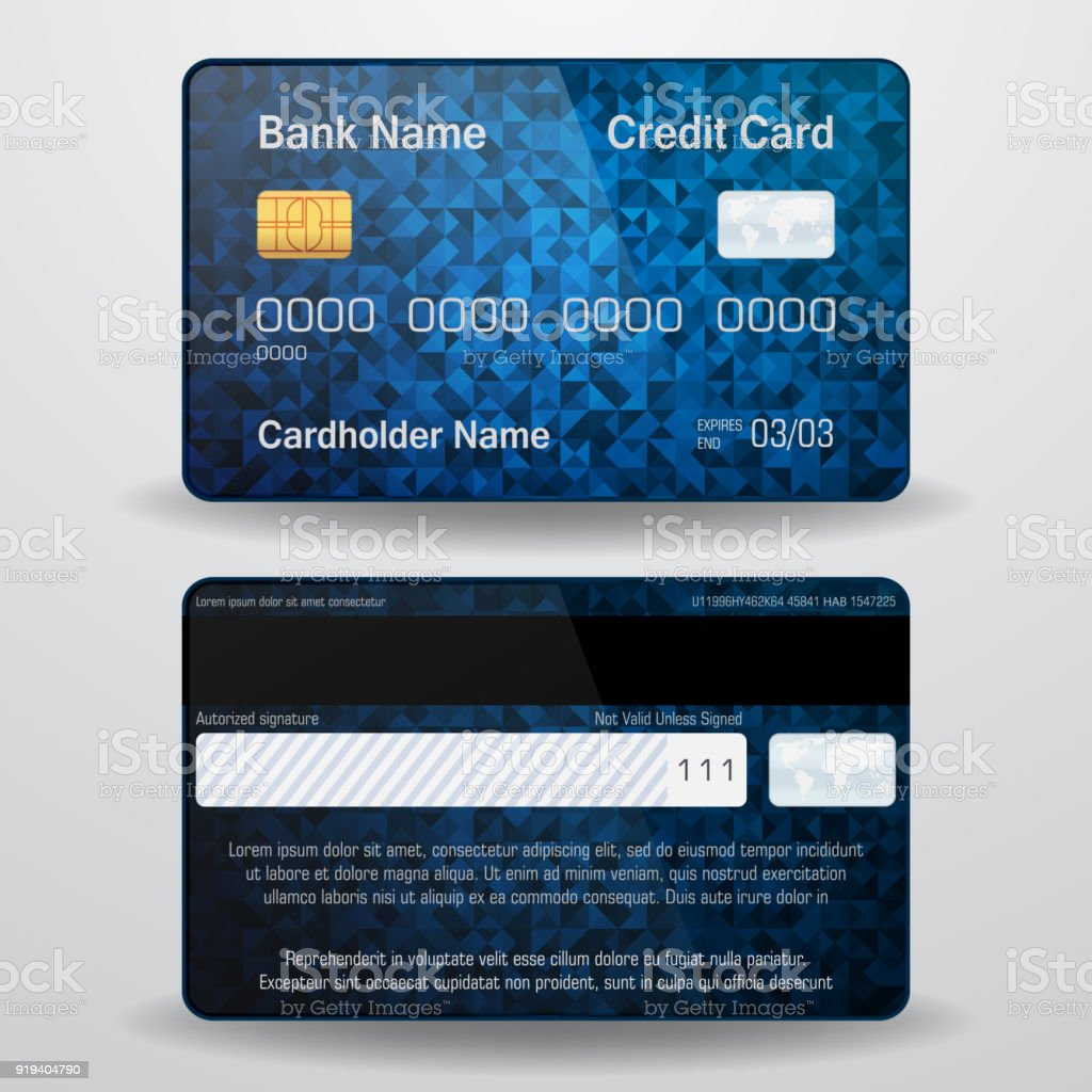 Detailed Realistic Vector Credit Card Front And Back Side Money