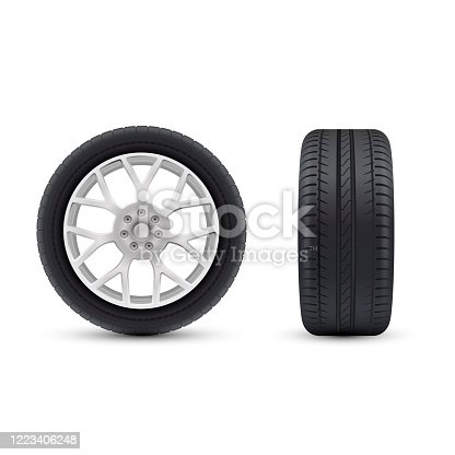 Detailed realistic wheels icons set for vehicle, transport, auto. Front, side view. Car care service centre, mounting, repairing, winter tire replacement. Vector illustration isolated on white.