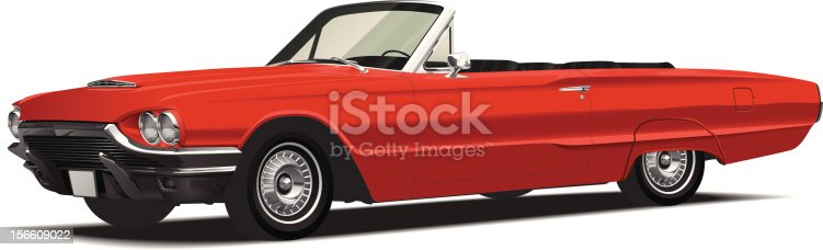 Detailed vector of a red convertible from the 60's.