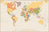 Detailed retro political World Map. Highly detailed vector illustration of World Map.