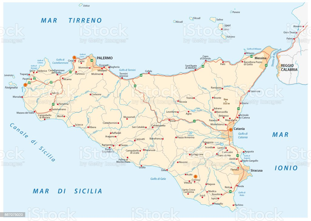 Detailed Road Map Of Island Sicily Italy Stock Vector Art More