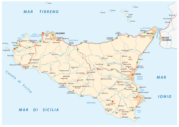 detailed road map of island sicily italy - sicily stock illustrations