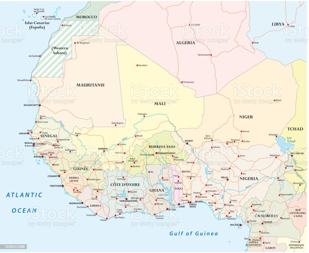 Detailed Map Of Africa Cities.Detailed Road Map Of The Countries Of West Africa With