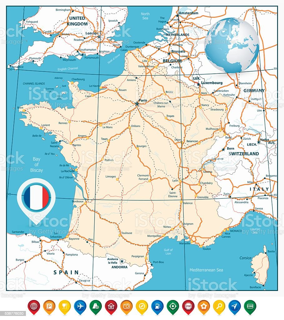 Downloadable Road Map Of France.Detailed Road Vector Map Of France And Colorful Map Pointers Stock