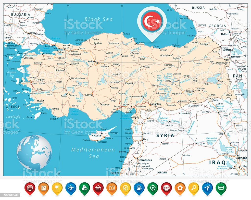 Detailed Road Vector Map Of Turkey And Colorful Map Pointers ...