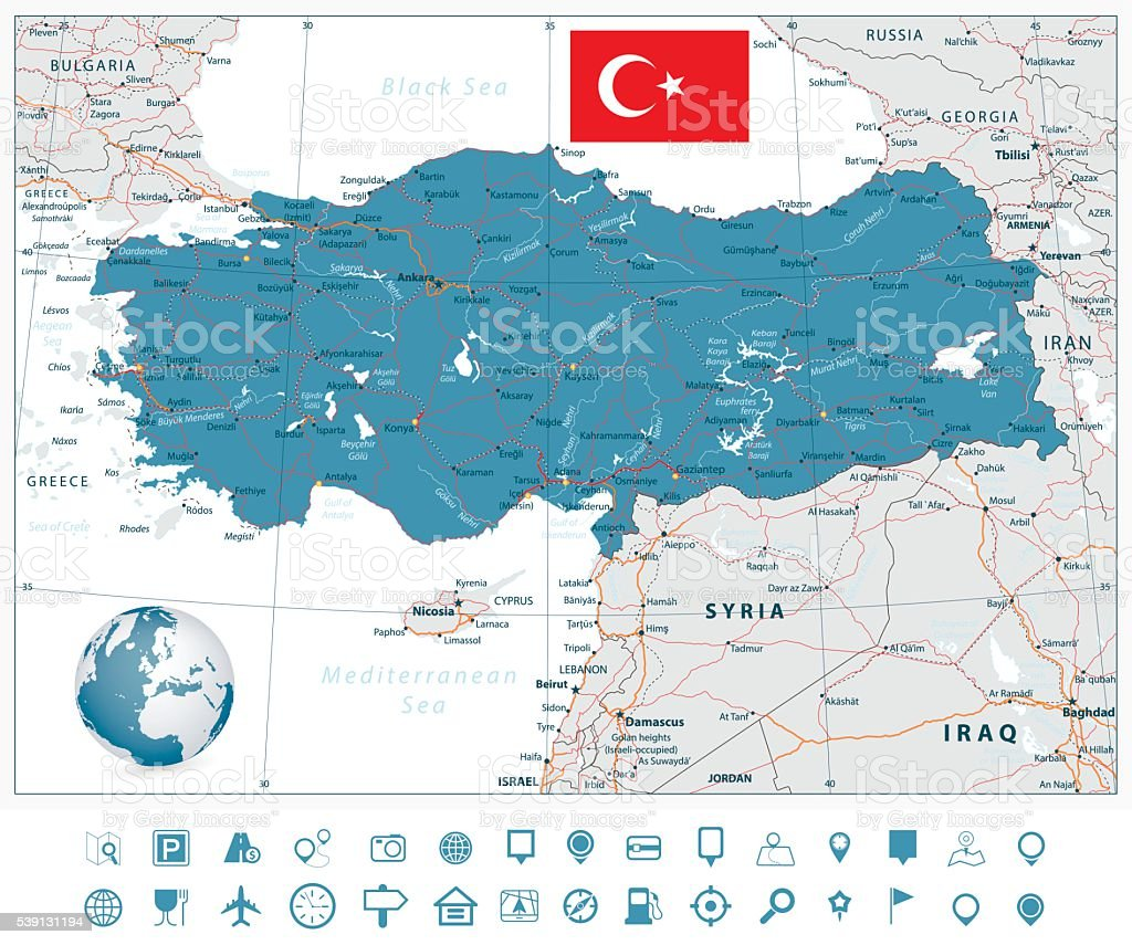 Detallado vector de ruta de navegación Mapa de Turquía y los iconos - ilustración de arte vectorial