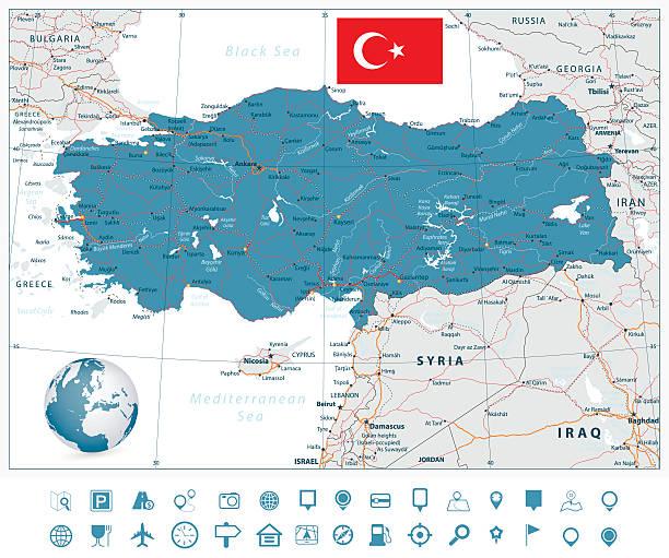 ilustraciones, imágenes clip art, dibujos animados e iconos de stock de detallado vector de ruta de navegación mapa de turquía y los iconos - mapa de oriente medio