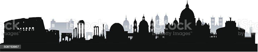 Detailed Rome Skyline (Complete, Moveable Buildings) vector art illustration