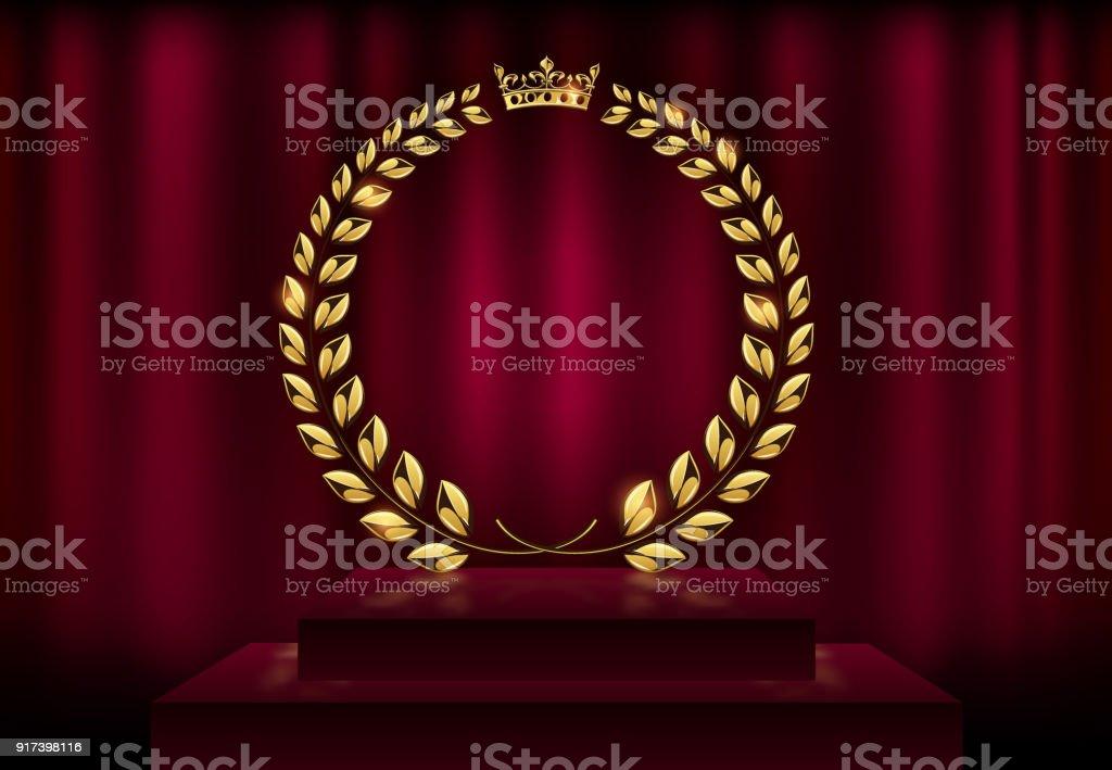 詳細ラウンド ゴールデン月桂樹の花輪クラウン賞赤いベルベット カーテンの背景やステージの表彰台に。ゴールド リング フレームのロゴ。勝利、名誉の達成、高品質の製品、記念日。ベクトル図 ベクターアートイラスト