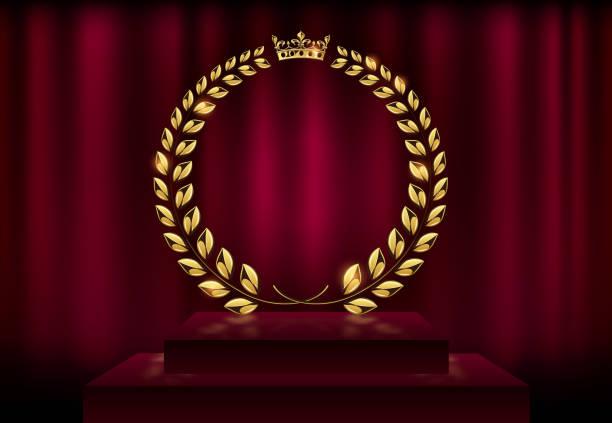 詳細ラウンド ゴールデン月桂樹の花輪クラウン賞赤いベルベット カーテンの背景やステージの表彰台に。ゴールド リング フレームのロゴ。勝利、名誉の達成、高品質の製品、記念日。ベクトル図 - 証明書と表彰のフレーム点のイラスト素材/クリップアート素材/マンガ素材/アイコン素材