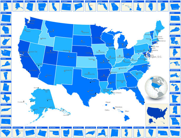 Detailed royalty free vector US State Map with Cities Detailed Editable royalty free vector US State Map with Capitals and Cities. The image features US map in blue color, world map globe, and every state with state name around the main map of the United States of America. florida us state stock illustrations