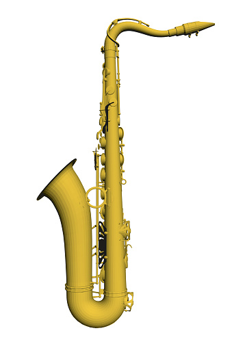 Detailed saxophone isolated on white background. Side view. 3D. Vector illustration