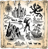 Detailed Scroll Map with Dragons, Castles and Pyramids