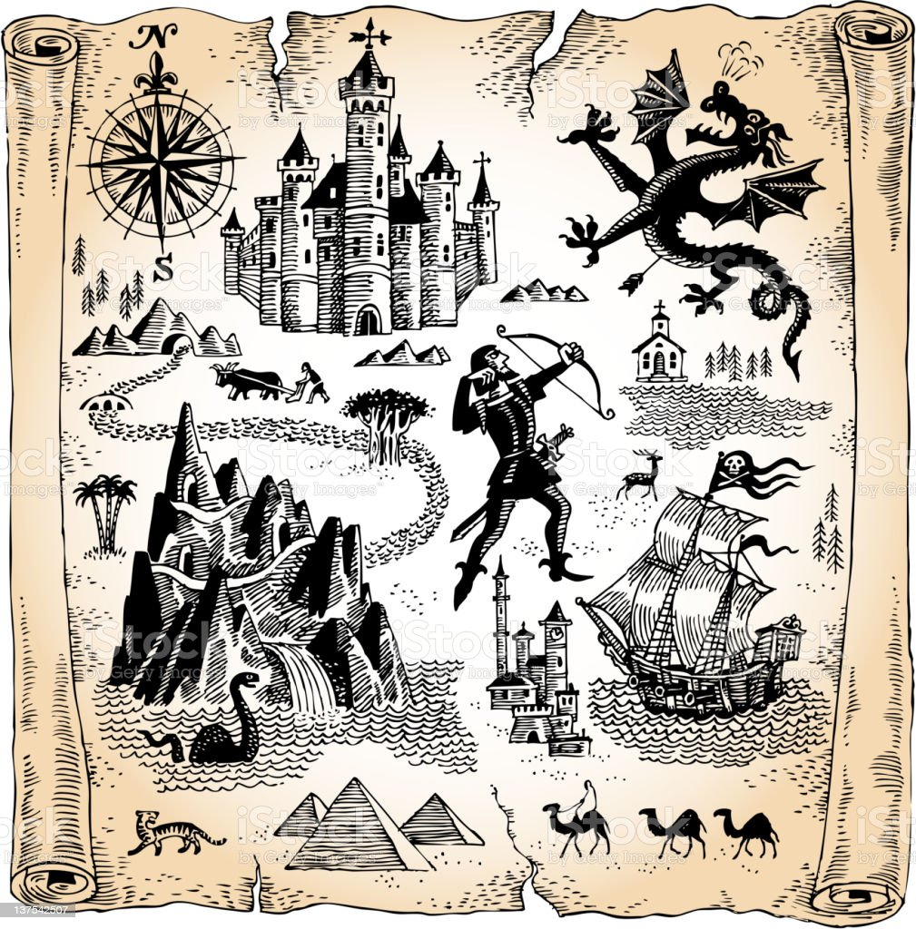 Detailed Scroll Map with Dragons, Castles and Pyramids vector art illustration