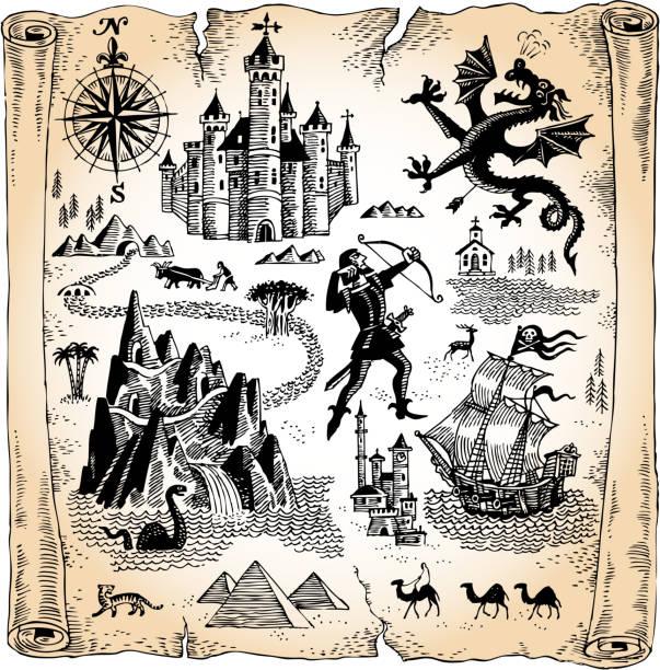 detaillierte scroll karte mit drachen, schlösser und die pyramiden. - geistergeschichten stock-grafiken, -clipart, -cartoons und -symbole