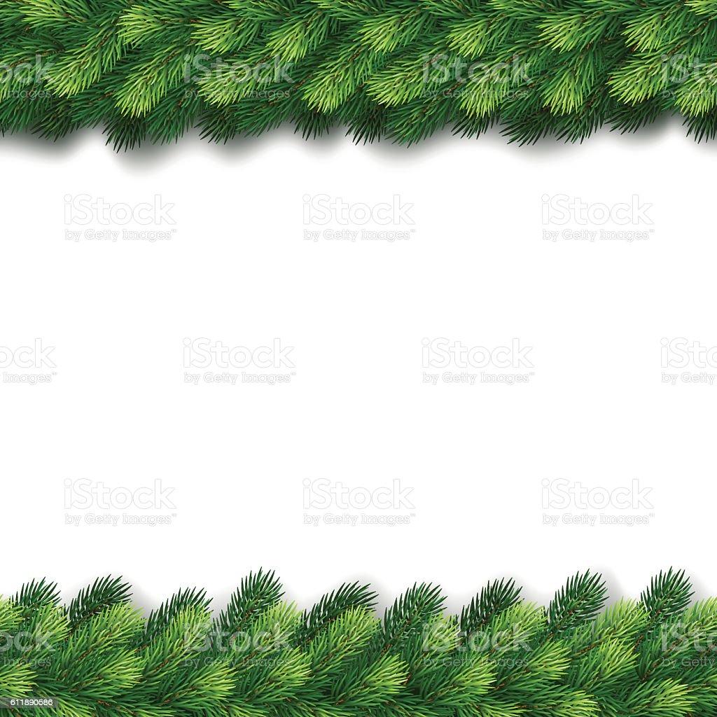 Detailed seamless Christmas garland of fir branches – Vektorgrafik