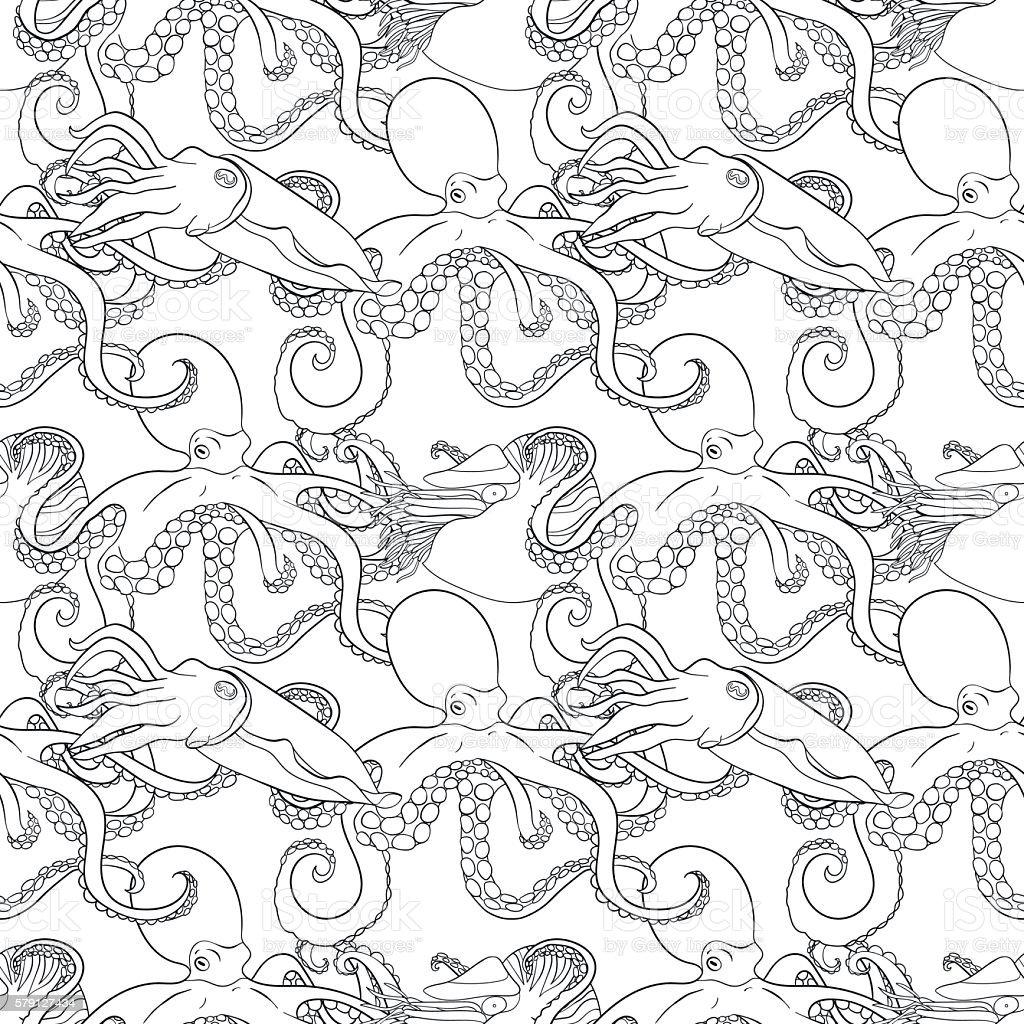 Dettagliata Vernice Motivo Con Molluschi Illustrazione 579127434