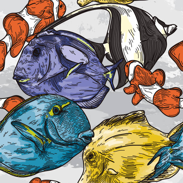 Detailed Seamless Tropical Fish Pattern vector art illustration