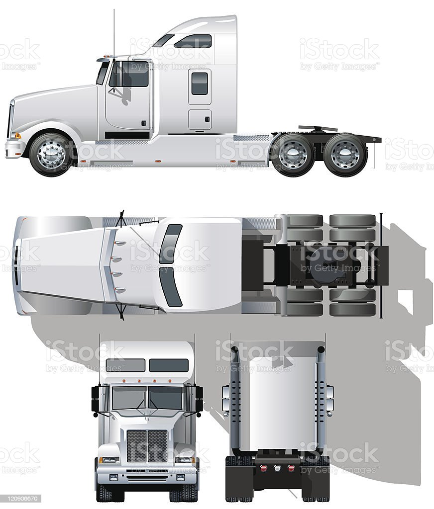detailed semi-truck vector art illustration